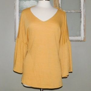 Cable & Guage Golden Crinkle Top/ Size 2X Large